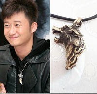 handicraft NEW Brave man wolf tooth necklace men jewelry With leather cord