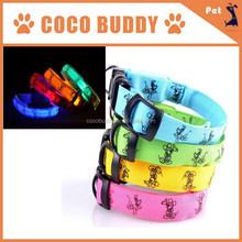 2.0cm and 2.5cm Width LED flashing pet dog collar with optical fiber Shining