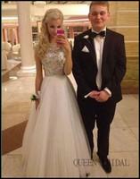 2015 QUEEN BRIDAL White Fashion Beaded Vestido de Noche