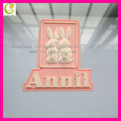Creative animal rabbit silicone 3d label for clothing/bags/shoes/purse
