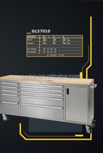 Metal tool box trolley with 15 drawers / with swival casters / with wood top cabinet