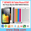 OEM MTK6572 Dual Core 3G Tablet PC Phone with 7 inch Capacitive Touch Screen 1024*600
