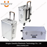 Aluminum Rolling Makeup Trolley Case with Wheels and Handle