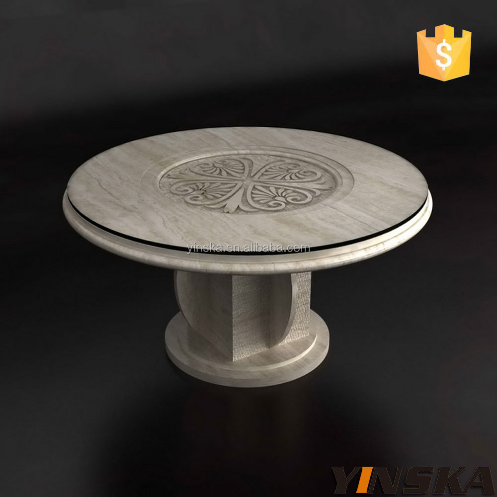Modern Small Modern Round Nature White Royal Marble Dining