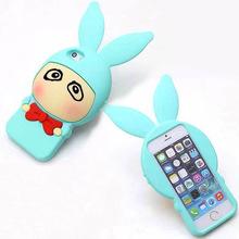 Big Ear Cartoon Cute Animal Silicone 3D Rabbit Case For iPhone 5 5S