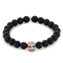 Hot sale tiger eye & black lava beaded gold lion skull head men's bracelet SSB-0008