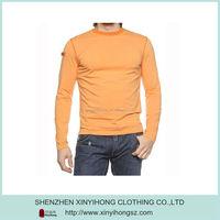 Orange color Crew neck men's compression t shirt with moisture-wicking