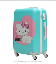 ABS+PC hello kitty Fashionable brighter trolley luggage for younger boys and girls