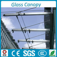 modern stainless steel post support glass canopy for balcony sunshade