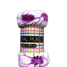 130*170, 300 grams flower printed flannel plain polar fleece blanket