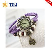 2015 New Design Hot sale multilayer weaved with watch women men pendant wrap bracelets /