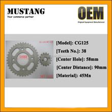 45Mn Steel Motorcycle Sprocket, CG125 Motorcycle Engine Chain and Sprocket, Motorcycle Spare Parts
