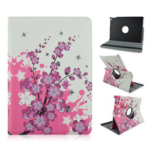 Pretty Flum Flower Design with Rotatable Folio Standing PU Leather Case Cover For iPad Air 2 with Elastic Belt