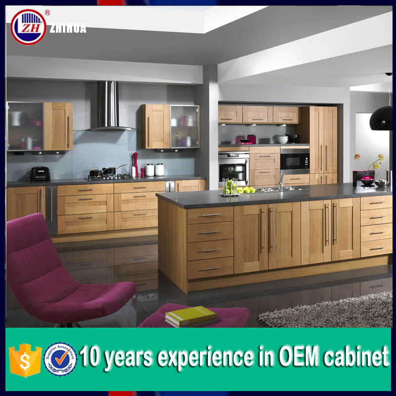 2015 new whole kitchen cabinet set in wooden color for Kitchen set 2015