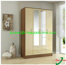 double color wardrobe with drawers and mirror