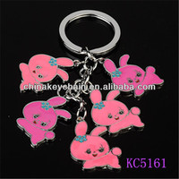 Colorful cute mini rabbit shaped bunch metal keychain for home decoration