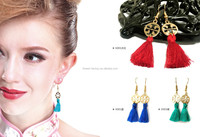2015 Anti-allergy Handmade dangling Earrings with tassel alloy charm Chinese style