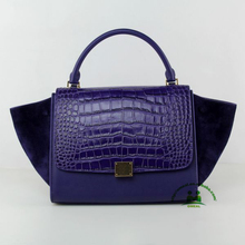 Hot sell high end quality dark blue alligator calfskin handbags women nubuck leather bags dropship no MOQ