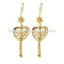 De cristal de diamante de imitación corazón aretes largos cuelgan, 22k pendientes de oro