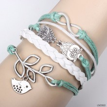 Fashion Classical DIY Wholesale Owl Infinity Smybol Woven Olive Branch Wrap Bird Charm Cord Bracelet