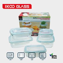 Pyrex Storage 10 Piece Set Clear Glass Blue Lids Food Fresh Container Kitchen