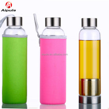 Eco-friendly 200ml glass sports portable water bottle with stainless steel cap couver holder