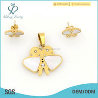 Wholesale bulk price butterfly gold steel jewelry sets wholesale