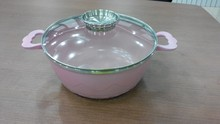 hot sell with high quality ceramic kitchen ware/die cast aluminum nwe product pink ceramic soup pot/casserole