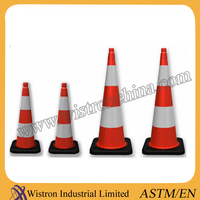 """4.2KG PVC Traffic Cone with Black Base in 28"""" Height"""