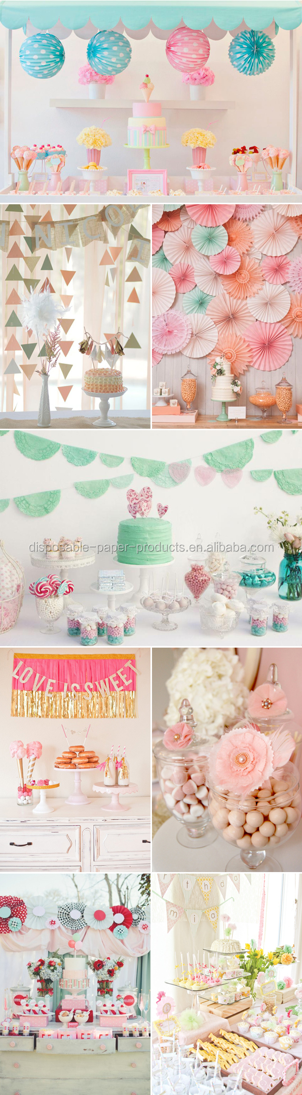 2015 NEW DIY Party Decor Ideas paper fan backdrop Shabby Chic Rosette ...