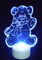 Light up acrylic flat bear Christmas LED decoration