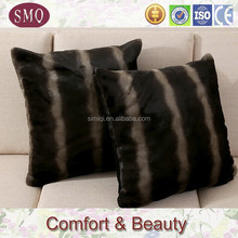 brown and black stripe color faux fur pillow cover with wholesale suqare