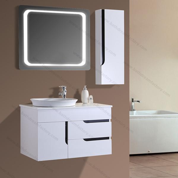 Wash basin bathroom mirror cabinet with light pvc for Wash basin mirror price