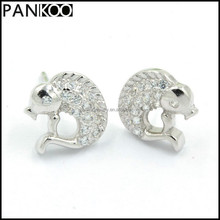 Stylish Fish Design Cubic Zirconia Stud Platinum Plated 925 Sterling Silver Earrings For Women