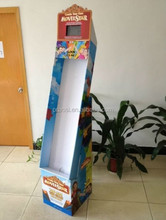 tall cardboard display shelf with lcd video for cosmetic promotion
