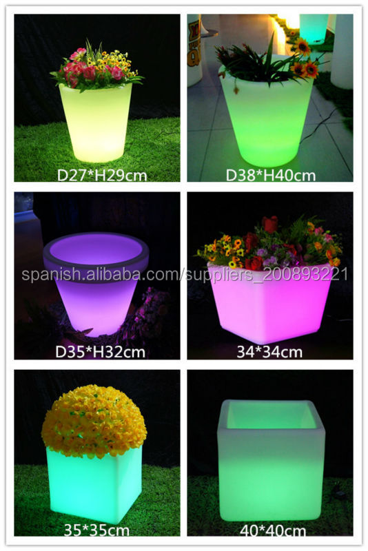 venta al por mayor moderno color de cambiar la decoracin del jardn maceta led recargable