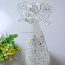 Hand Blown Angel Shape Decorative Glass Christmas Tree Ornament with LED Lights