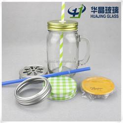 custom made 380ml 13oz transparent mason jar drinking glass with handle