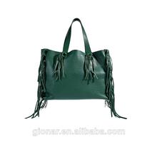 2014 verde oscuro franja adornos de cuero genuino bolso de mano, puro cuero bolso de mano para mujer