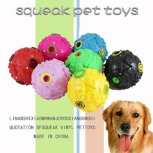 Popular rubber pet leakage food ball with sound, pet food ball for leakage with strange voice, wholesale pet products