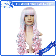 New Design fantasy wig, long ombre pink and white color cosplay wig peruvian hair lace wig