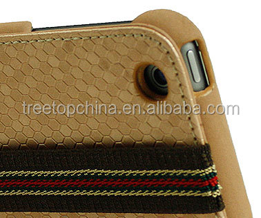 2014 Newest Hand made strap wallet leather case for iPad Air