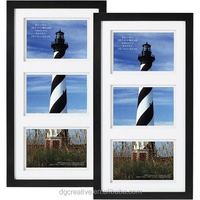 """Black Gallery 3 Open 4""""x6"""" collage wood photo Frame, set of 2"""
