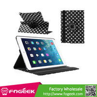 Fast Shipping Polka Dots 360 Swivel Stand Smart Leather Case for iPad Air