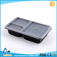 Light brown microwaveable plastic PP container for food with compartments