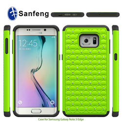 3 in 1 PC Silicone Hybrid Durable Covers For Sam Galaxy Note 5 Edge Diamond Covers