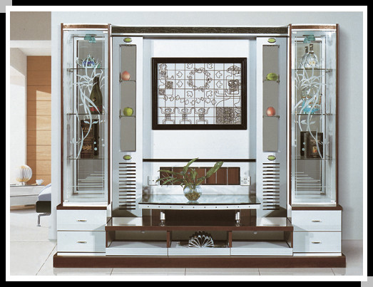 2014 New Design Tv Cabinet With Showcase Wall Unit