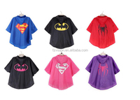 Wholesale new popular polyester waterproof superhero rain coat for kids spiderman superman