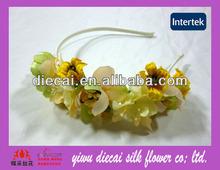 Wedding natural fabric flower adult headbands