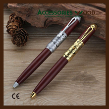 Ballpoint Pen made of wood with sliver and gold metal accessories wooden pen